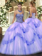 Tulle Sweetheart Sleeveless Lace Up Beading and Appliques and Ruffles Vestidos de Quinceanera in Lavender