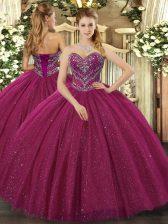 Fuchsia Lace Up 15th Birthday Dress Beading Sleeveless Floor Length