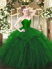 Floor Length Zipper Sweet 16 Dress Green for Military Ball and Sweet 16 and Quinceanera with Ruffles