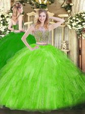 Floor Length Quinceanera Gown Scoop Sleeveless Lace Up