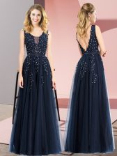 Navy Blue Backless Prom Gown Beading and Appliques Sleeveless Floor Length