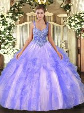 Wonderful Lavender Tulle Lace Up Straps Sleeveless Floor Length 15th Birthday Dress Beading and Ruffles