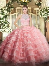 Watermelon Red Zipper 15 Quinceanera Dress Lace and Ruffled Layers Sleeveless Floor Length