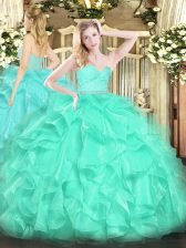 Designer Turquoise Sleeveless Organza Zipper 15 Quinceanera Dress for Military Ball and Sweet 16 and Quinceanera