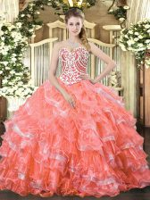 Fantastic Watermelon Red Sleeveless Floor Length Beading and Ruffled Layers Lace Up Quinceanera Dresses