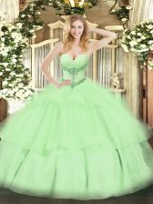 Stunning Tulle Sweetheart Sleeveless Lace Up Beading and Ruffled Layers Quinceanera Dress in Yellow Green