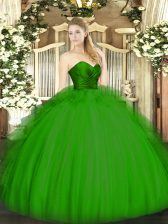 Fashionable Sleeveless Floor Length Ruffles Zipper Quince Ball Gowns with Green