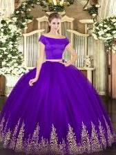 Fashion Purple Zipper Ball Gown Prom Dress Appliques Short Sleeves Floor Length