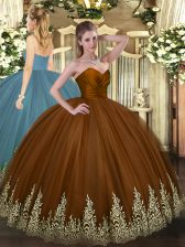 Artistic Floor Length Brown 15th Birthday Dress Tulle Sleeveless Appliques