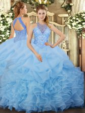Aqua Blue Organza Lace Up Halter Top Sleeveless Floor Length Sweet 16 Quinceanera Dress Beading and Ruffles and Pick Ups