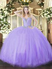 Deluxe Floor Length Lace Up 15th Birthday Dress Lavender for Military Ball and Sweet 16 and Quinceanera with Beading