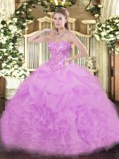 Dramatic Lilac Organza Lace Up Vestidos de Quinceanera Sleeveless Floor Length Lace and Ruffles and Pick Ups