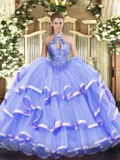 Lavender Ball Gowns Halter Top Sleeveless Organza Floor Length Lace Up Beading Sweet 16 Dress
