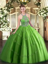 Shining Tulle Lace Up Vestidos de Quinceanera Sleeveless Floor Length Beading and Appliques