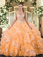 Flirting Orange Ball Gowns Beading and Ruffled Layers 15th Birthday Dress Lace Up Organza Sleeveless Floor Length