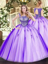 Fancy Tulle Sleeveless Floor Length Quince Ball Gowns and Beading