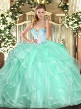 Apple Green Ball Gown Prom Dress Military Ball and Sweet 16 and Quinceanera with Beading and Ruffles Sweetheart Sleeveless Lace Up
