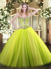 Excellent Yellow Green Ball Gowns Sweetheart Sleeveless Tulle Floor Length Lace Up Beading Sweet 16 Dresses