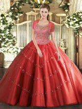 Latest Coral Red Sleeveless Beading Floor Length Quinceanera Dresses