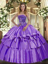 Elegant Lavender Sleeveless Floor Length Beading and Ruffled Layers Lace Up Sweet 16 Dresses