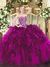 Floor Length Lace Up 15 Quinceanera Dress Fuchsia for Military Ball and Sweet 16 and Quinceanera with Beading and Ruffles