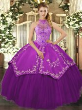 Noble Eggplant Purple Halter Top Neckline Beading and Embroidery Quinceanera Gowns Sleeveless Lace Up