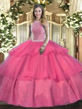 Chic Sleeveless Beading and Ruffled Layers Lace Up Vestidos de Quinceanera