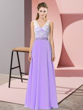 Custom Fit Lavender Chiffon Backless Prom Gown Sleeveless Floor Length Beading