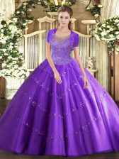 Lavender Tulle Clasp Handle Scoop Sleeveless Floor Length 15th Birthday Dress Beading and Appliques