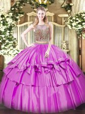 Lilac Sleeveless Beading and Ruffled Layers Floor Length Quinceanera Dress