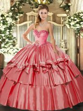 New Arrival Coral Red Sleeveless Floor Length Beading and Ruffled Layers Lace Up Quinceanera Dress