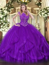 Simple Sleeveless Beading and Ruffles Zipper Sweet 16 Dress
