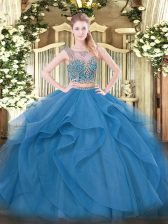 Modern Blue Sleeveless Tulle Lace Up Quinceanera Dresses for Military Ball and Sweet 16 and Quinceanera