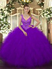 Floor Length Ball Gowns Sleeveless Purple Quinceanera Dress Zipper
