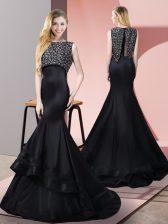 Superior Beading Prom Dress Black Zipper Sleeveless Floor Length Sweep Train