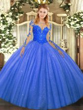 Blue Scoop Neckline Lace Sweet 16 Quinceanera Dress Long Sleeves Lace Up