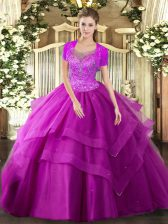 Pretty Floor Length Ball Gowns Sleeveless Fuchsia Sweet 16 Dress Clasp Handle