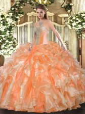 Orange Sleeveless Beading and Ruffles Floor Length Sweet 16 Quinceanera Dress