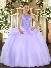 Luxury Lavender Sleeveless Beading Floor Length 15 Quinceanera Dress
