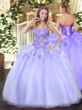 Charming Organza Sweetheart Sleeveless Lace Up Appliques Quinceanera Gowns in Lavender