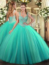 Discount Sleeveless Lace Up Floor Length Beading Sweet 16 Dress