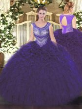 Scoop Sleeveless Quinceanera Dress Floor Length Beading and Ruffles Purple Organza