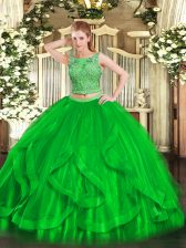 Green Sleeveless Floor Length Beading and Ruffles Lace Up Quince Ball Gowns