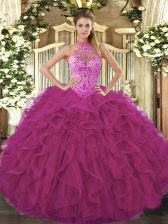 Halter Top Sleeveless Organza 15 Quinceanera Dress Beading and Embroidery and Ruffles Lace Up