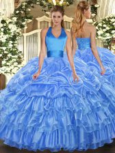 Baby Blue Sleeveless Floor Length Ruffled Layers and Pick Ups Lace Up Quinceanera Dresses
