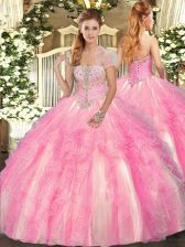 Rose Pink Strapless Lace Up Appliques and Ruffles 15 Quinceanera Dress Sleeveless