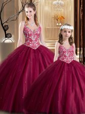 High End Wine Red Ball Gowns Tulle V-neck Sleeveless Lace Floor Length Lace Up Quince Ball Gowns