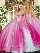 Fuchsia Tulle Lace Up Sweetheart Sleeveless Floor Length Quinceanera Dress Beading and Ruffles