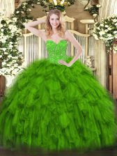 Superior Green Ball Gowns Sweetheart Sleeveless Organza Floor Length Lace Up Beading and Ruffles Sweet 16 Dresses
