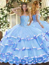 Aqua Blue Organza Lace Up Sweetheart Sleeveless Floor Length 15 Quinceanera Dress Beading and Ruffled Layers